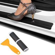 1Set Carbon Fiber Vinyl Decal Door Sill Chameleon Protect Sticker NI J
