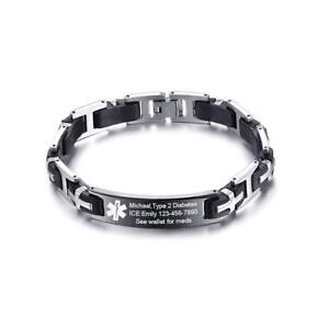 Medical-Alert-ID-Silicone-Chain-Link-Men-Bracelet-Free-Engraving-Stainless-Steel