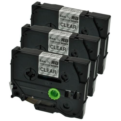 3 Schriftbänder kompatibel zu Brother P-Touch TZE-S111 8m//6mm Schwarz auf Klar