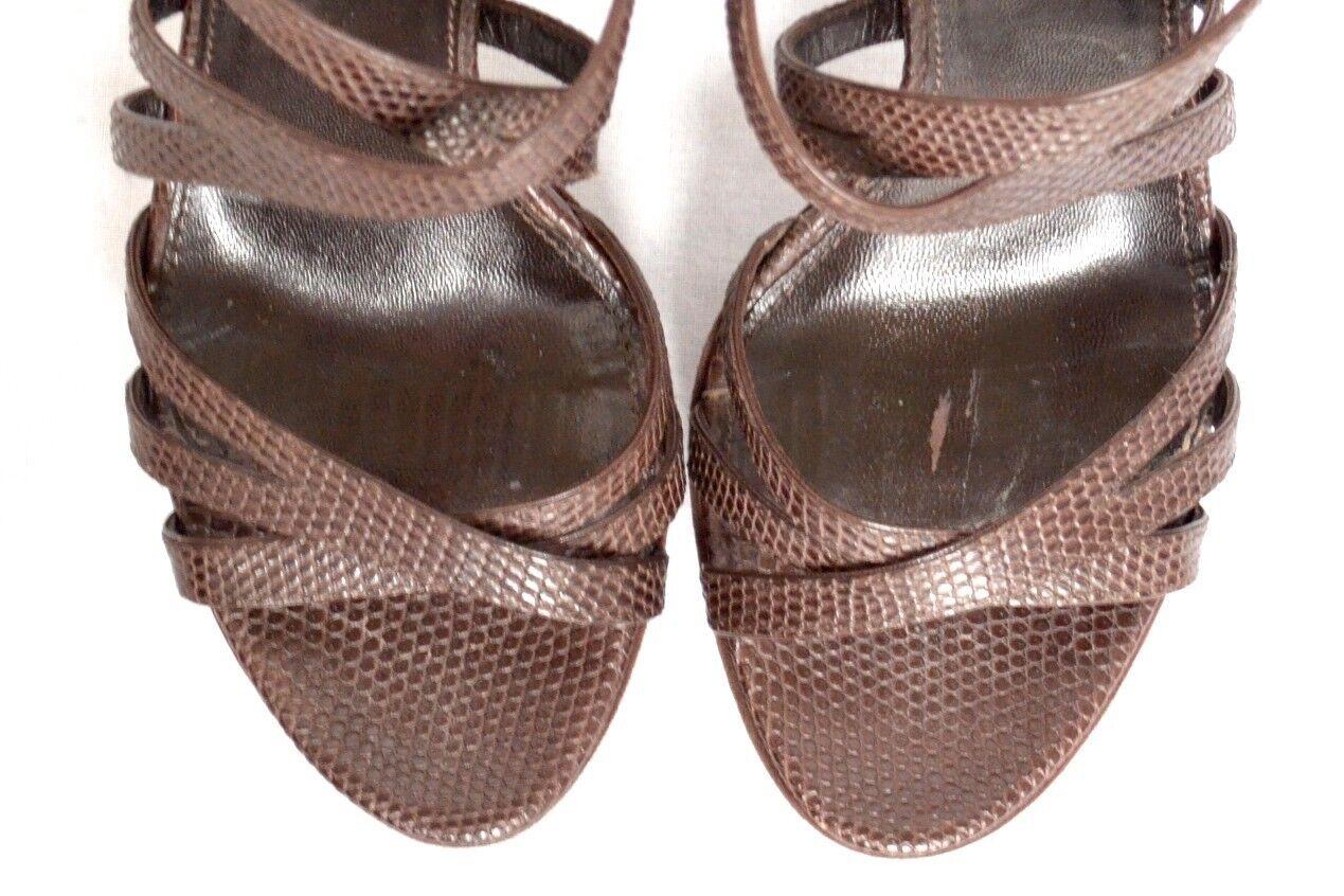 SERGIO SERGIO SERGIO ROSSI Damenschuhe Braun Lizard Suede High Heel Platform Pump Ankle Strap 7-37 b8f46c