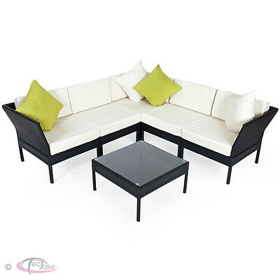 Luxury Rattan Aluminium Garden Furniture Sofa Set Outdoor Wicker Lounge black