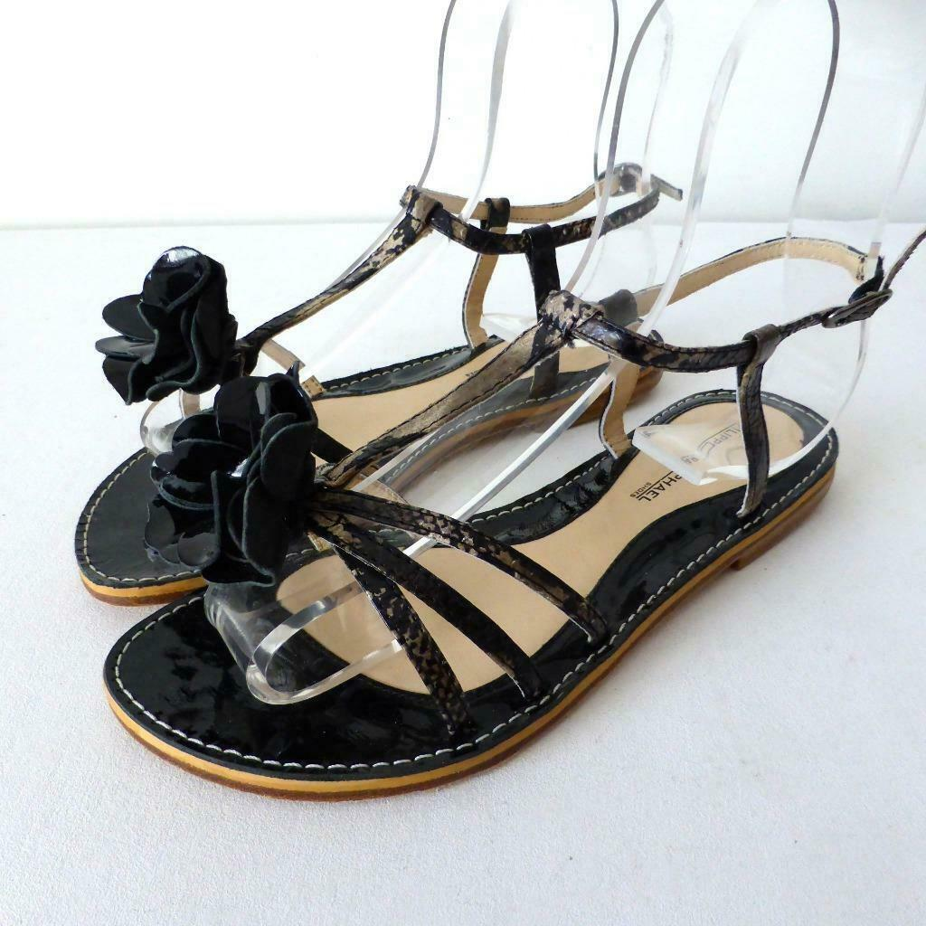 FILIPPO RAPHAEL - NWT-  rrp  235 Dimensione 37 nero Patent Leather Sandals Flats
