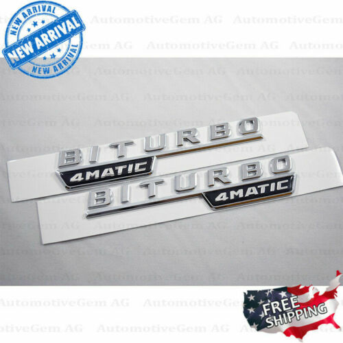 2017 BITURBO 4MATIC Fender AMG Emblem Chrome Logo for Mercedes C43 C63 E43 E63