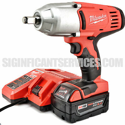 "5.0Ah Battery /&Charger MILWAUKEE M18 2663-20 1//2/"" Impact Wrench W//Friction Ring"