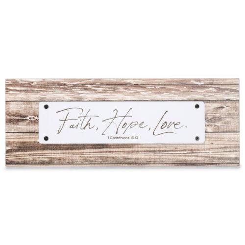 Faith Hope Love Farmhouse Brown 8.5 x 3.25 Wood Decorative Sign Plaque
