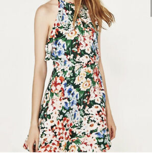 NWT-Zara-Women-s-Size-Large-Floral-Ruffle-Halter-Sleeveless-Mini-Dress