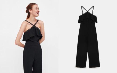 in Basic Zara pizzo nero all'uncinetto cinturino con Culotte 1qrdrxAE