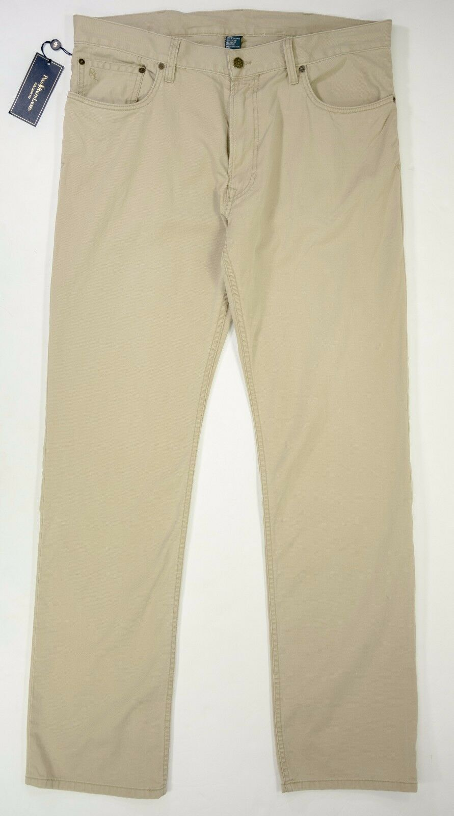 Men's Polo Ralph Lauren size 36x34 Beige Straight Fit Khaki Jeans NEW