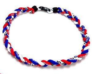 Wholesale 12pcs Red Black White Titanium Baseball Necklace Tornado Rope Necklace