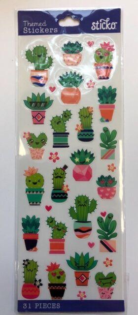 1 Sheet 31 individual cute  Cactus stickers scrapbooking card planner journal
