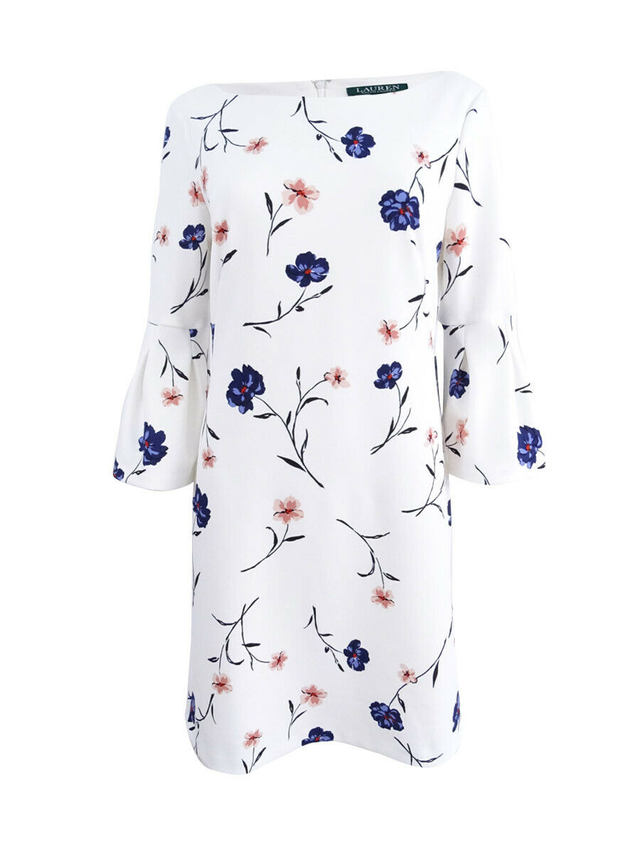 Lauren de Ralph Lauren damen& 039;s Floral-Imprimer Bell-manches robe