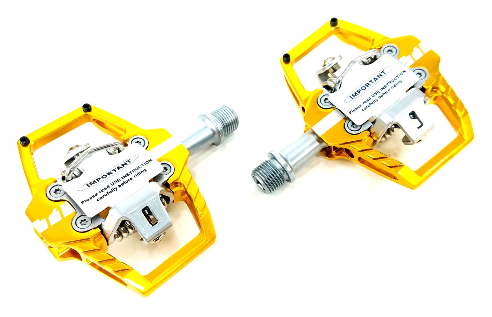 HT Components T1 Enduro Race Mountain Bike Pedals - gold, Clipless, with Cleats