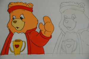 1988-CHAMP-BEAR-Nelvana-Care-Bear-Production-Animation-Cel-amp-Pencil-Sketch