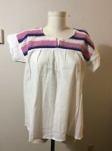 MEXICAN-TRADITIONAL-BLOUSE-WHITE-MULTICOLOR-SIZE-L-NEW