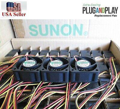 Set of 3x new Quiet Version fans Cisco Linksys SRW2048 Sunon MagLev 12dBA Noise