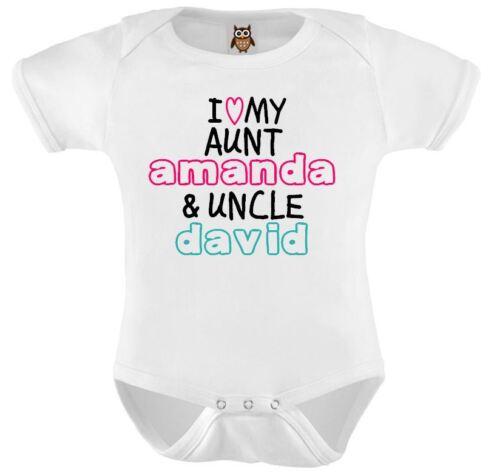 Personnalisé Bébé Veste J/'aime ma tante et oncle nommé baby gilet body cadeau