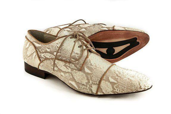 Carlo Ventura2248  Men's Lace Up scarpe In Pitone Laser Print Leather