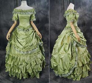H-012 Grün Gothic Victorian Rococo BarockLuxus Ballkleid Abend-Kleid Kostüm