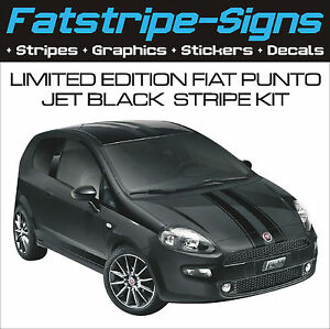 fiat punto evo limited edition jet black stripe kit car vinyl graphics decals ebay. Black Bedroom Furniture Sets. Home Design Ideas