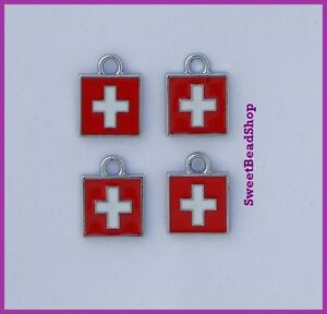 4-Small-13-x-10mm-Enamel-Red-with-White-Cross-Swiss-Peace-Christian-Faith-Charms
