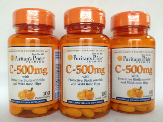 3 Puritan's Pride Vitamin C-500 mg Protective with Bioflavonoids & Rose Hips