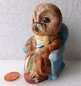 Vintage Owl Ornament Bisque Porcelain Figurine 4 Inches