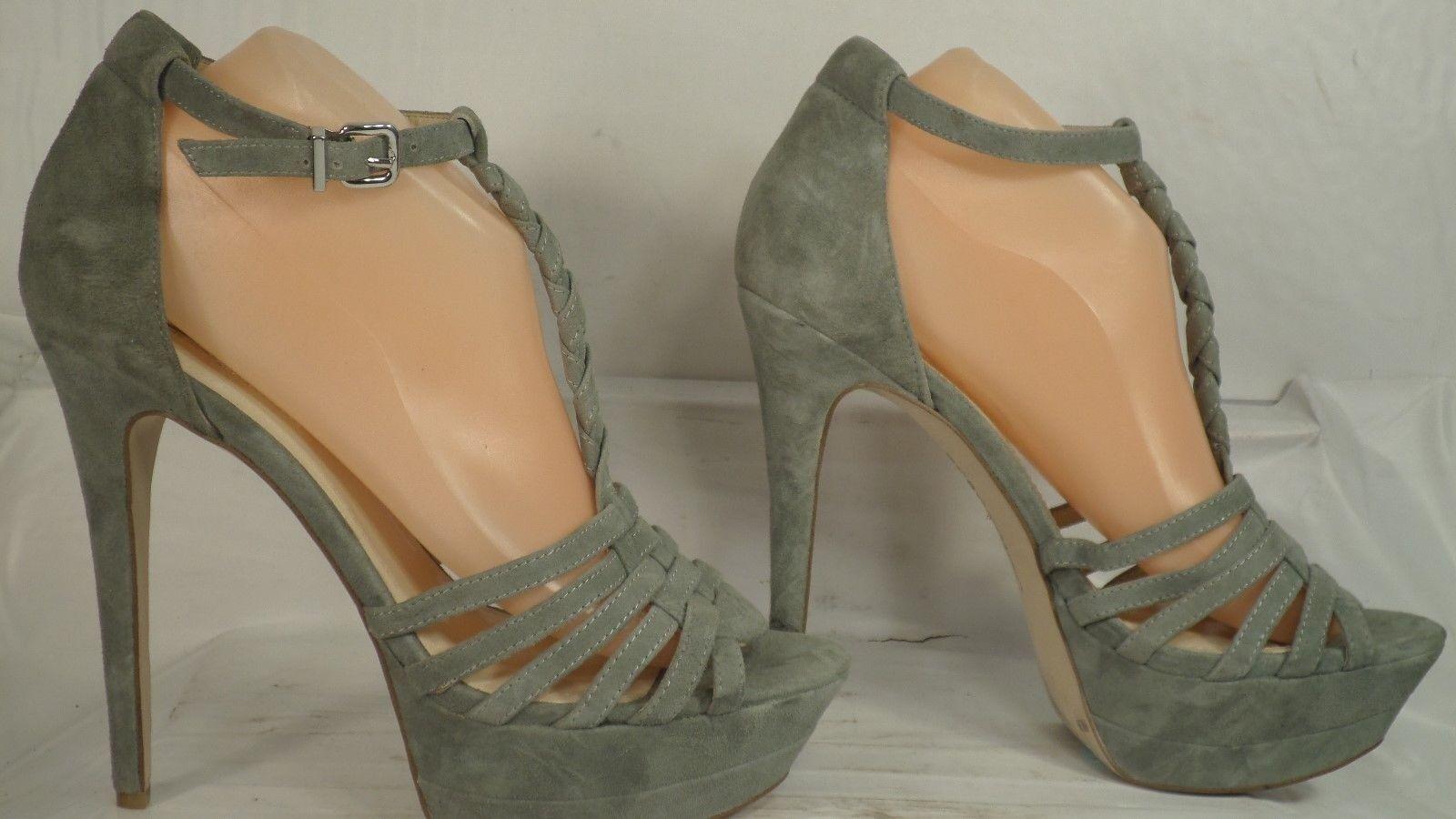 BCBGeneration  Vixen  Sage Green Suede Platform Dress Sandal Women Size 9 M