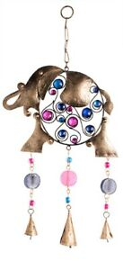 Details About Fairtrade Funky Elephant Iron Wind Chime With Copper Bells Beads Ethnic