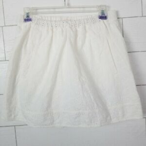8bfab045ff9 J. Crew Factory Size Small White Cotton Eyelet Skirt Pockets Lace ...