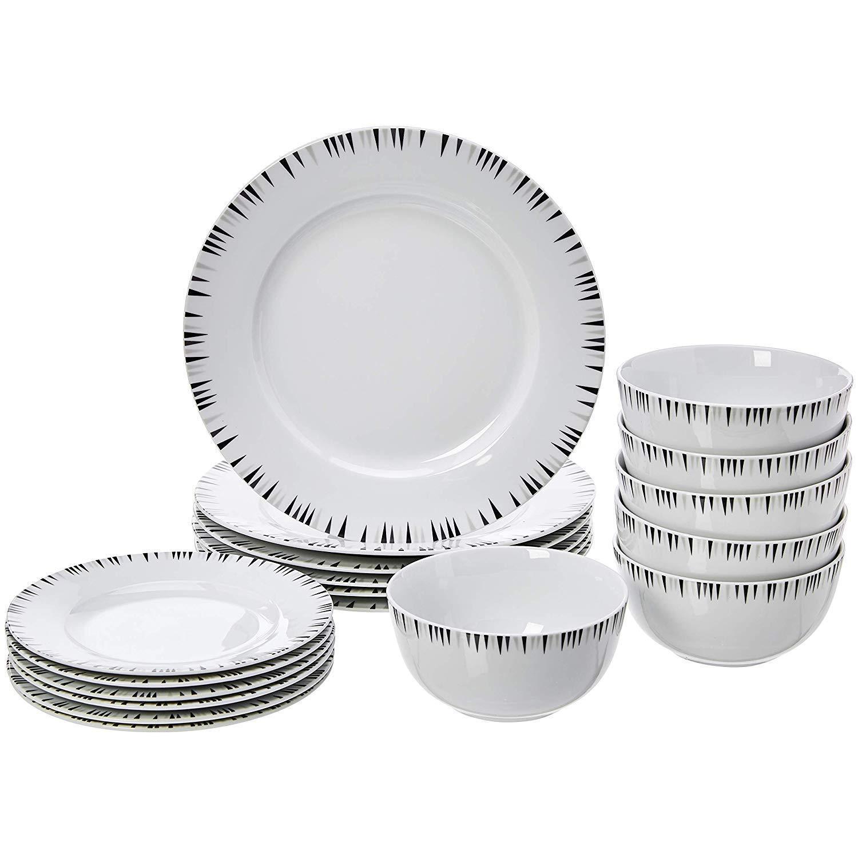Service en porcelaine 18 pièces plaques bols vaisselle vaisselle 6 couverts