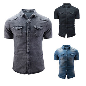 Mens-Denim-Wash-Jeans-Shirt-Casual-Short-Sleeve-Slim-Fit-Summer-Tops-Shirt-M-3XL