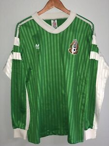 low priced 31da3 16ddb Image is loading Adidas-Originals-Mexico -Vintage-Soccer-Pullover-Goalie-Sweater-