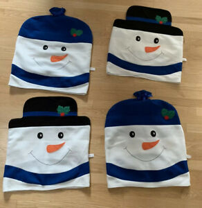 Lot-4-Of-Christmas-Holiday-Back-Chair-Covers-Snowmen-Ice-Light-Blue-Holiday