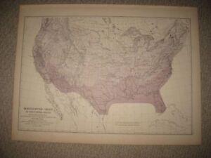 Florida Temperature Map.Antique 1874 United States Temperature Map Territory California