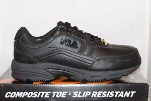 67b507f8 Details about Mens Fila Memory Foam Workshift COMPOSITE TOE Slip Resistant  Work Shoes Black