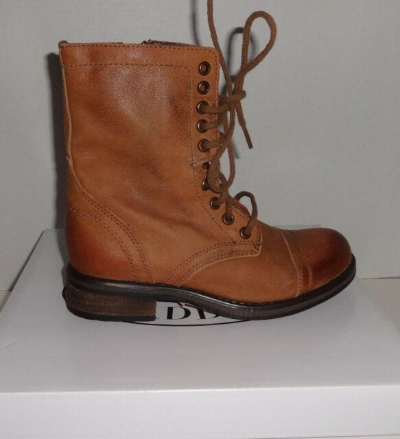 d02559a4d29 NEW WOMENS STEVE MADDEN TROPA 2-0 LACE UP LEATHER COMBAT BOOTS COGNAC SIZE 6