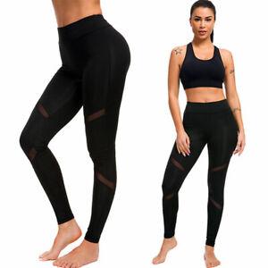 Women's Black Fitness Yoga Leggings High Waist Pants Sports Gym Running Trousers