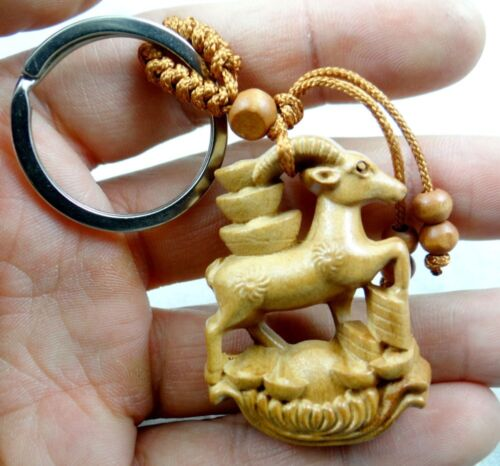 45*33MM Hand-carved Sheep money Wooden Crafts Key Ring  cc3 Key Chain