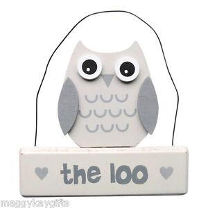 The Loo Wooden Owl Plaque Door Sign White Grey