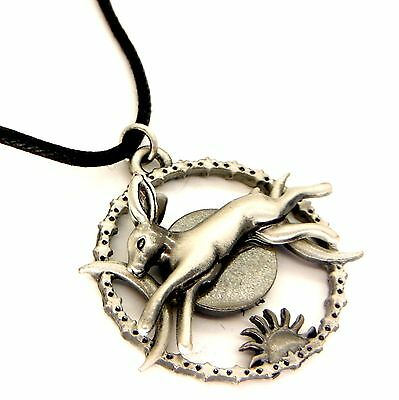 Greenwood Celestial Hare Amulet Pendant Necklace Pewter Moon Rabbit GW03