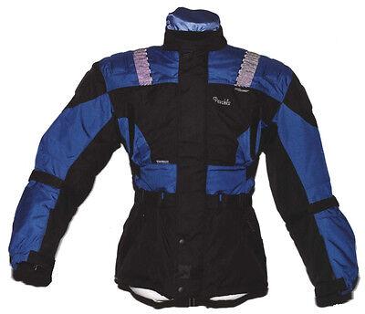 Motorrad Textiljacke lange Textil Jacke mit Reflexstreifen & Schutz schwarz blau   eBay