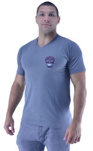 Mens DMC V Neck T Shirt Skull Print Top Cotton Short Sleeve Casual Tee
