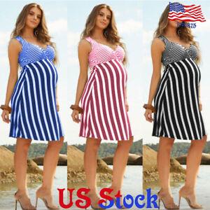Women-Casual-Maternity-Stripe-Halter-Strap-Dress-Pregnant-Sleeveless-Summer-US