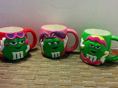 Set of 3 Ceramic Collectible M&M cups/mugs by Galerie,, Decorative Green M & M's