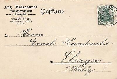 2 X Postkarte 1915 Aug Laasphe Melsheimer Trikotagen-fabrik