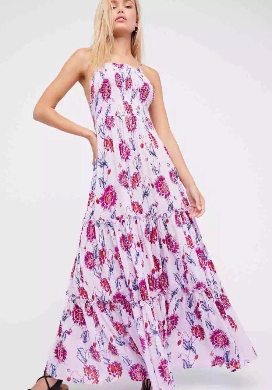 Free People Garden Party Maxi Dress Boho Lilac Floral Tierot Größe M Retails