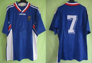 Détails sur Maillot Equipe de France Ancien #7 FFF Vintage Adidas Football Jersey L