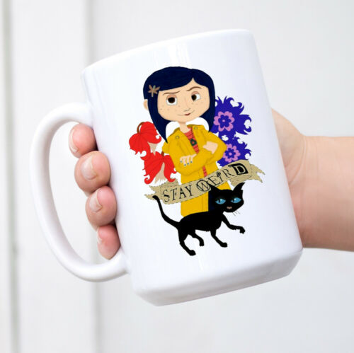 Coraline Stay Weird Birthday Christmas Gift Black Mug Coffeetea Cup Mug Gift