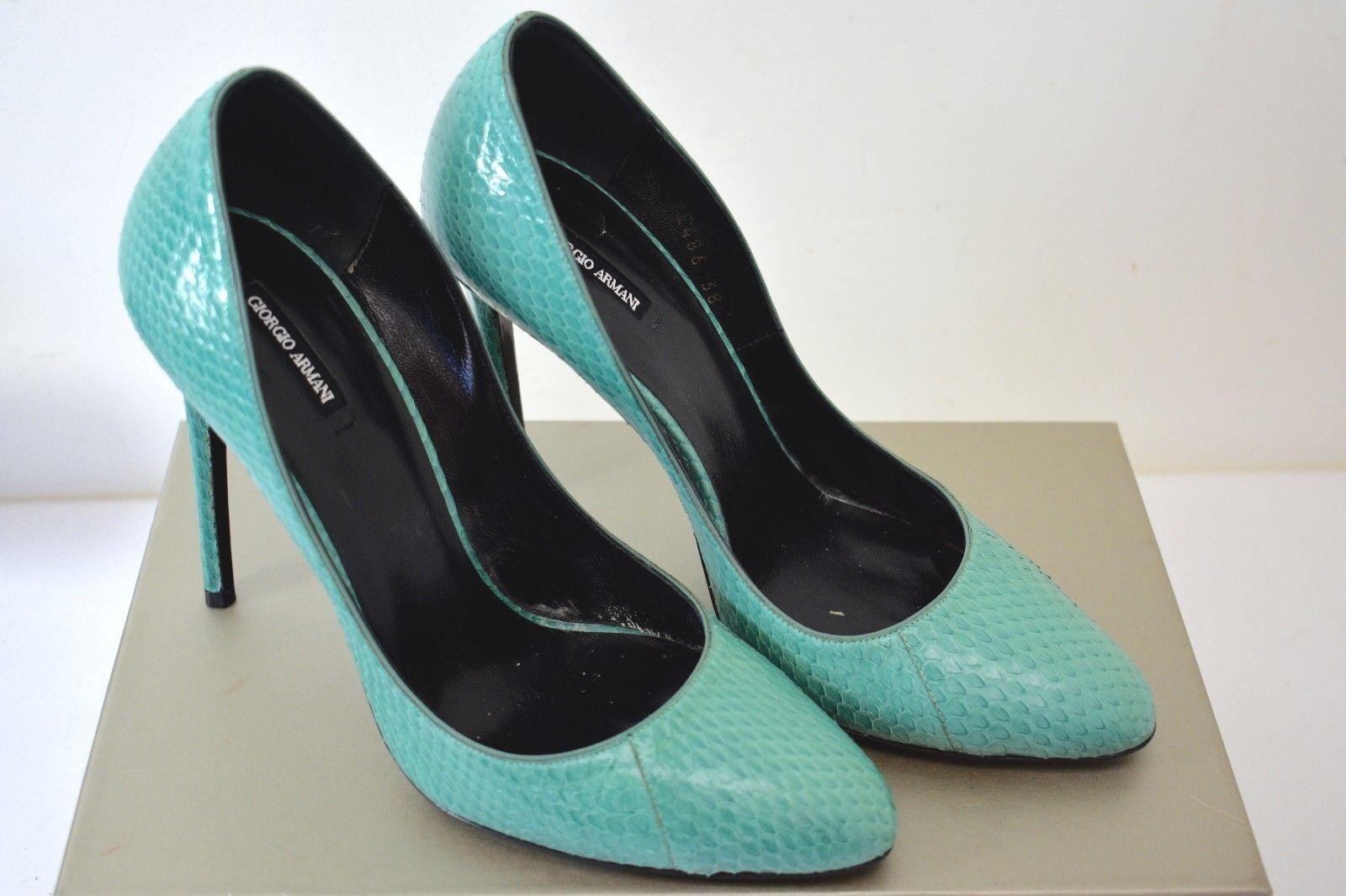 GIORGIO ARMANI Turquoise Couleur Genuine Python Leather Pump chaussures chaussures chaussures Taille 8B sy dfed5b