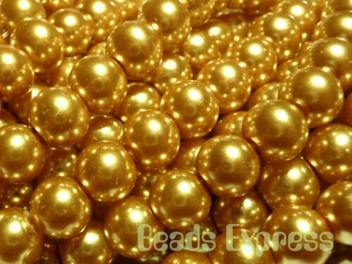Topaz Gold 8mm CR8009 50 Glass Pearl Round Beads